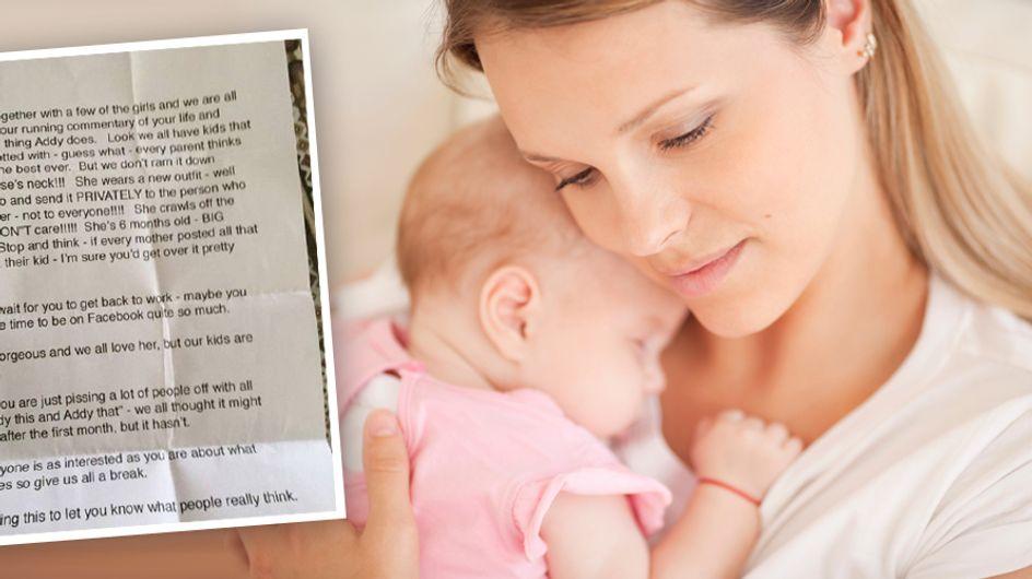 Unfassbar: Wütende Freundinnen schicken dieser Mutter einen fiesen Brief wegen ihres Babys