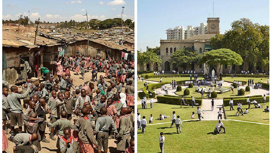 Il photographie les cours d'école à travers le monde pour dénoncer les inégalités