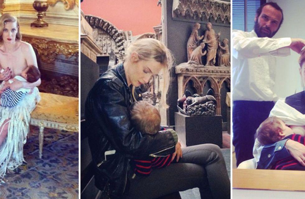 Dal parrucchiere, sul set, in un museo... le foto della Riccobono mentre allatta in pubblico!