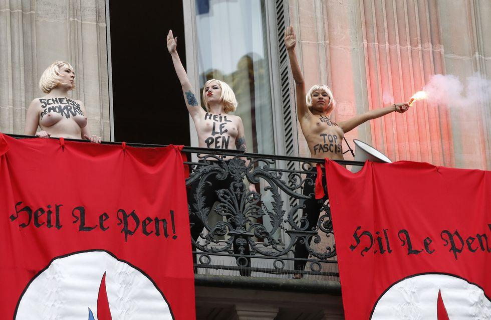 Les Femen interrompent le discours du 1er mai de Marine Le Pen (Photos)