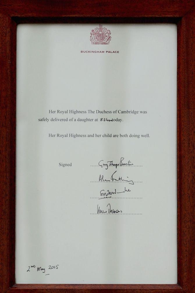 Le communiqué officiel de la naissance du Royal Baby 2