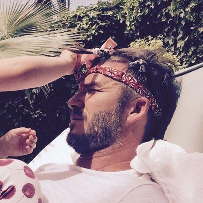 David Beckham relooké par sa fille Harper