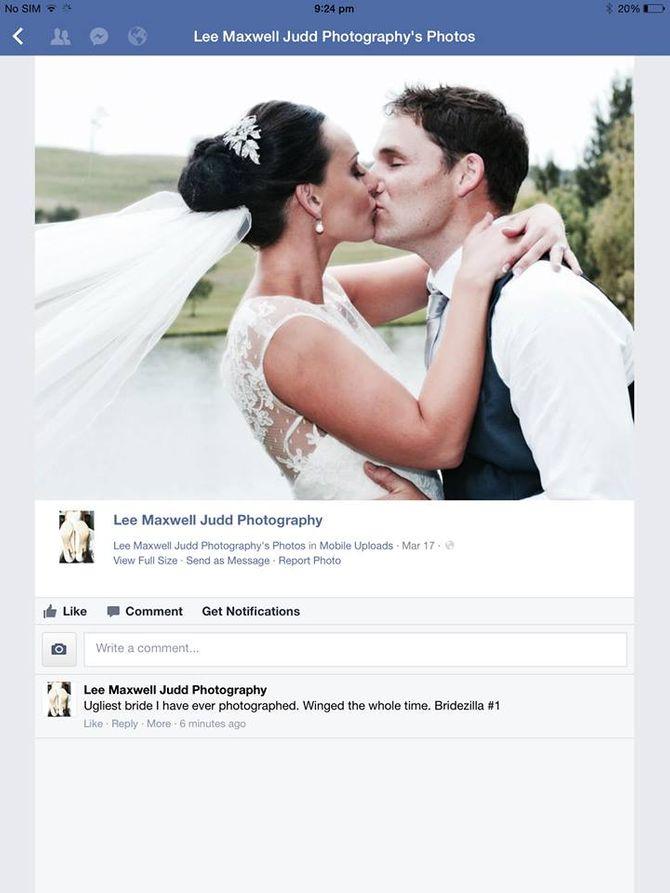 """""""Elle est la mariée la plus moche que j'ai photographiée"""""""