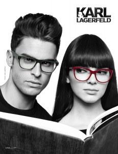 Baptiste Giabiconi et Kendall Jenner pour la collection de lunettes de Karl Lagerfeld
