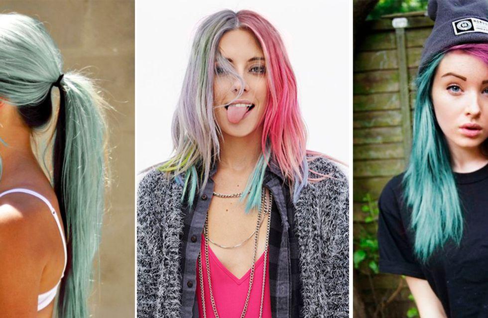 Meio a meio? Conheça o split dye, nova invencionice com cabelos coloridos