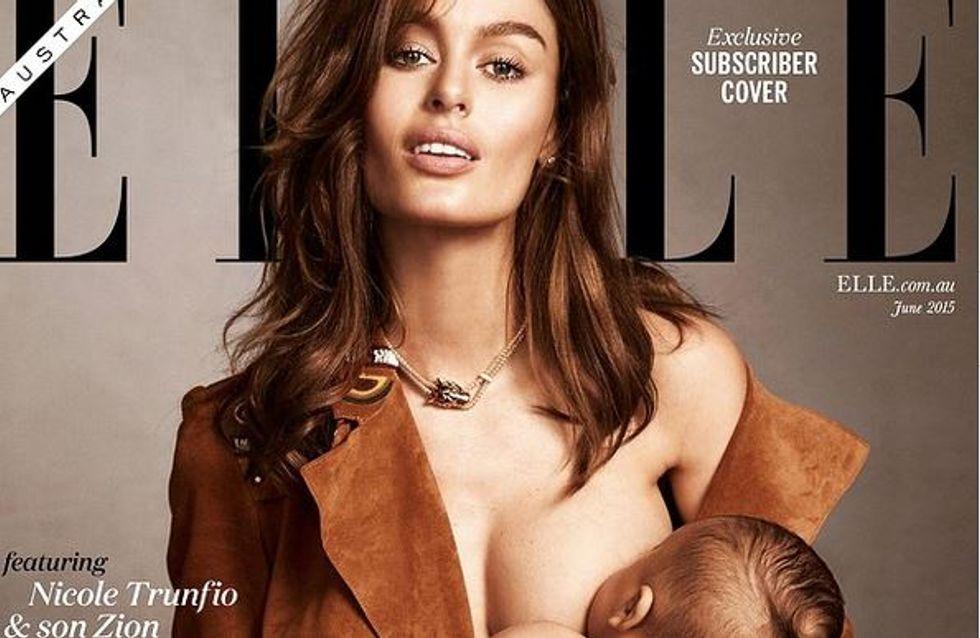 Le mannequin Nicole Trunfio allaite en couverture du ELLE Australie