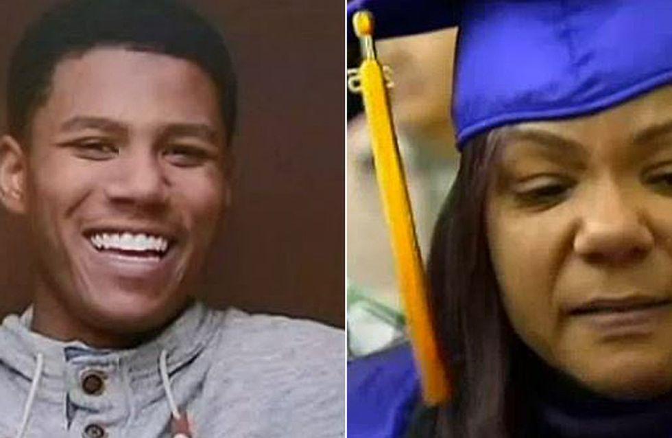 Der rührende Moment, in dem eine Mutter das Diplom ihres verstorbenen Sohnes abholt