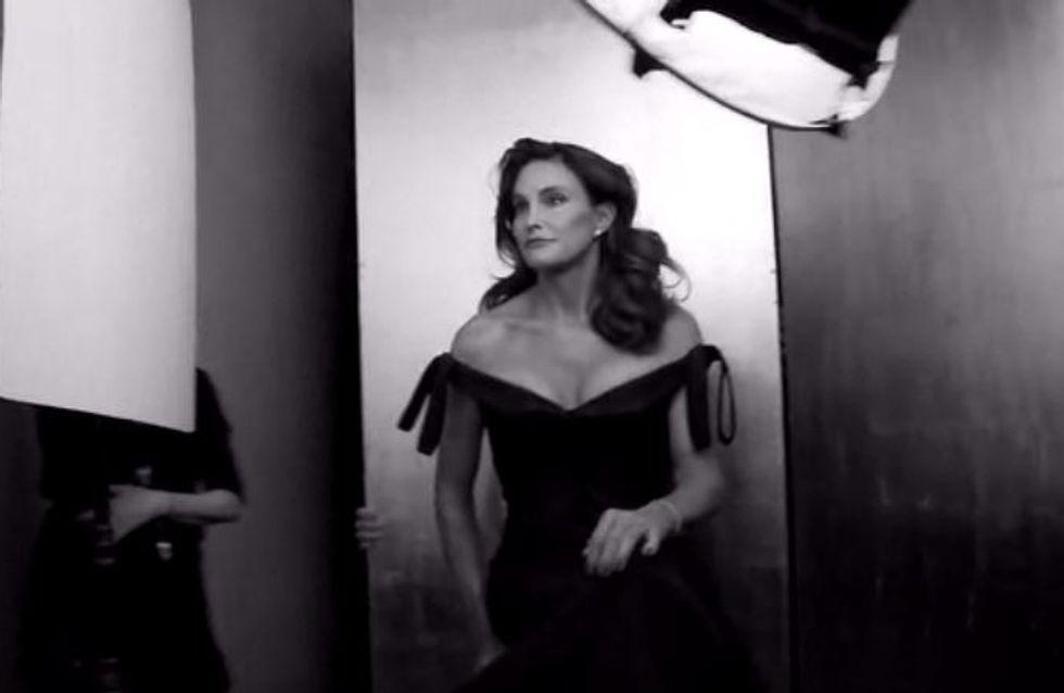 Caitlyn Jenner épanouie en robe longue dans le making of du shooting de Vanity Fair