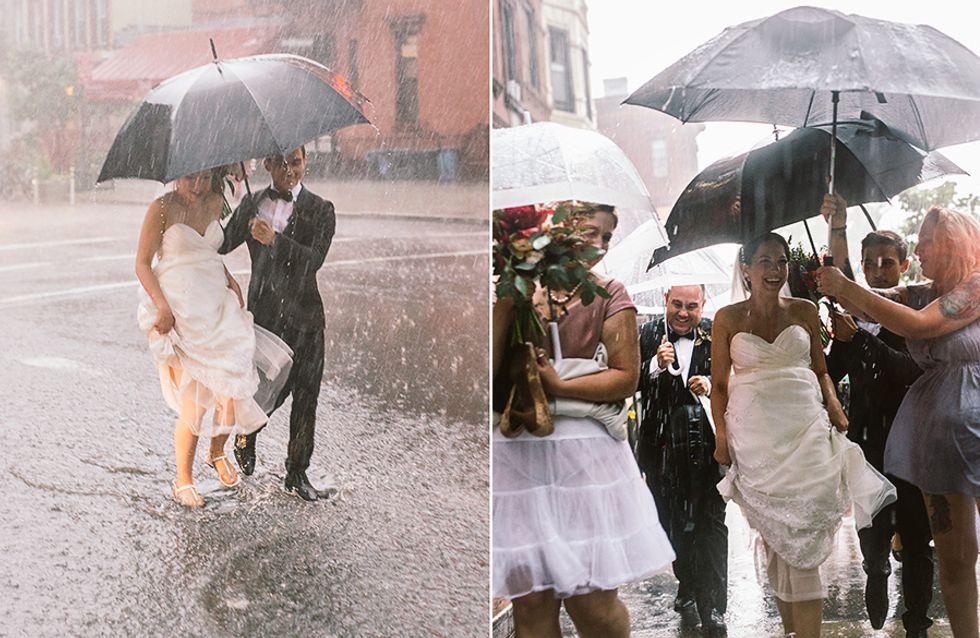 Ihre Hochzeit droht ins Wasser zu fallen - doch dieses Brautpaar strahlt trotz allem!