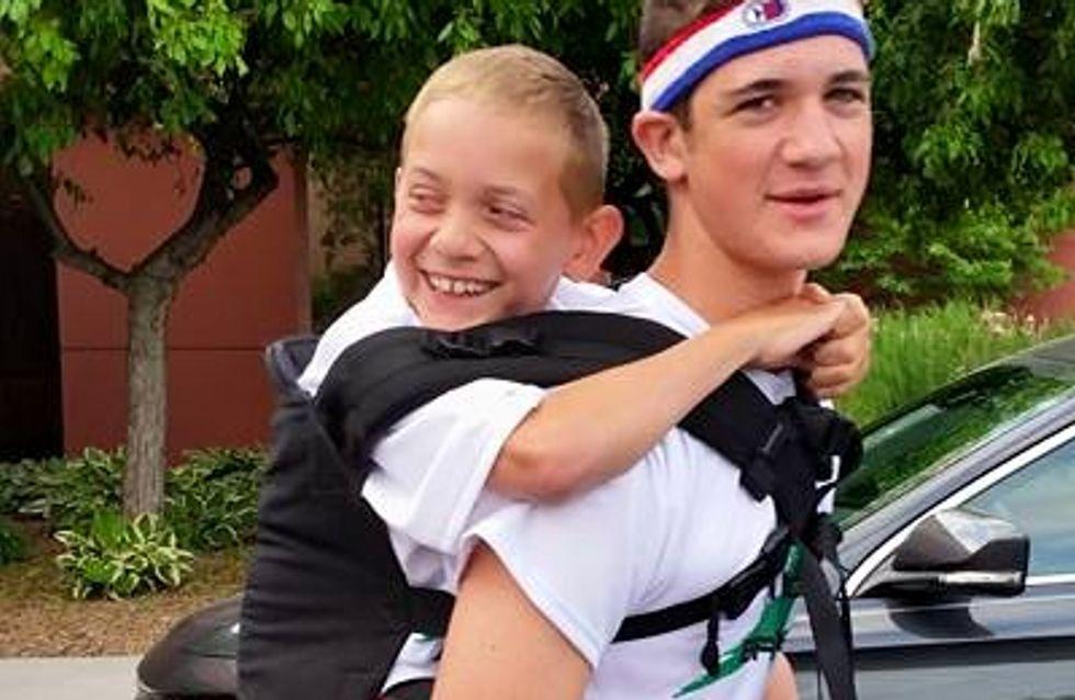 Il porte son petit frère handicapé durant 91 km pour récolter des fonds