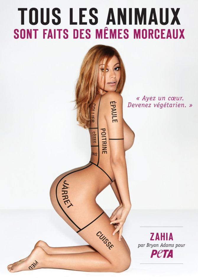 Zahia pose nue pour la PETA