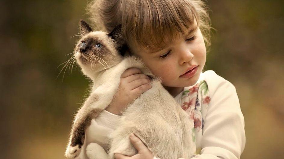 ¡Adorables! Muérete de amor con las mejores imágenes de niños y gatitos jugando