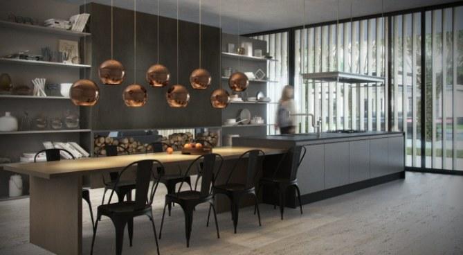 Com pegada moderna, as luminárias fazem a diferença na decoração da cozinha americana