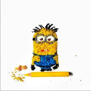 Ilustrações com raspas de lápis de cor