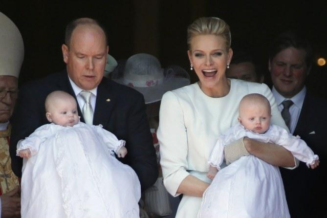 Albert et Charlène de Monaco lors du baptême de leurs enfants