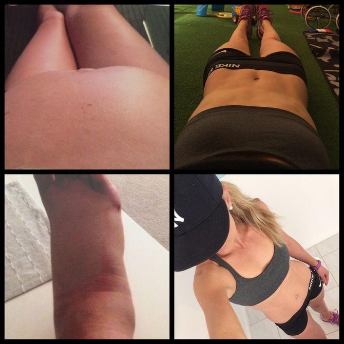 Bilder links: Kimberley während ihrer Schwangerschaft / Bilder rechts: Kimberley heute