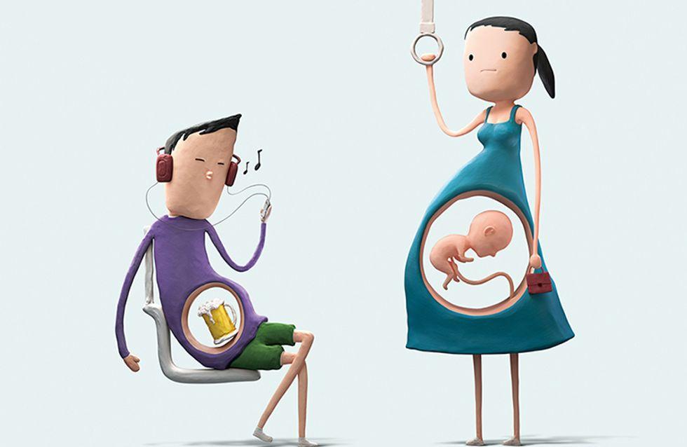 Campanha incentiva pessoas a cederem lugares para grávidas no transporte público