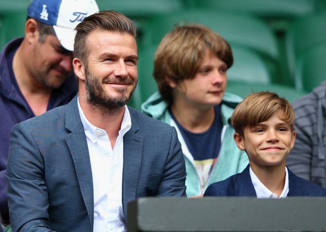 David Beckham et son fils Romeo à Wimbleton