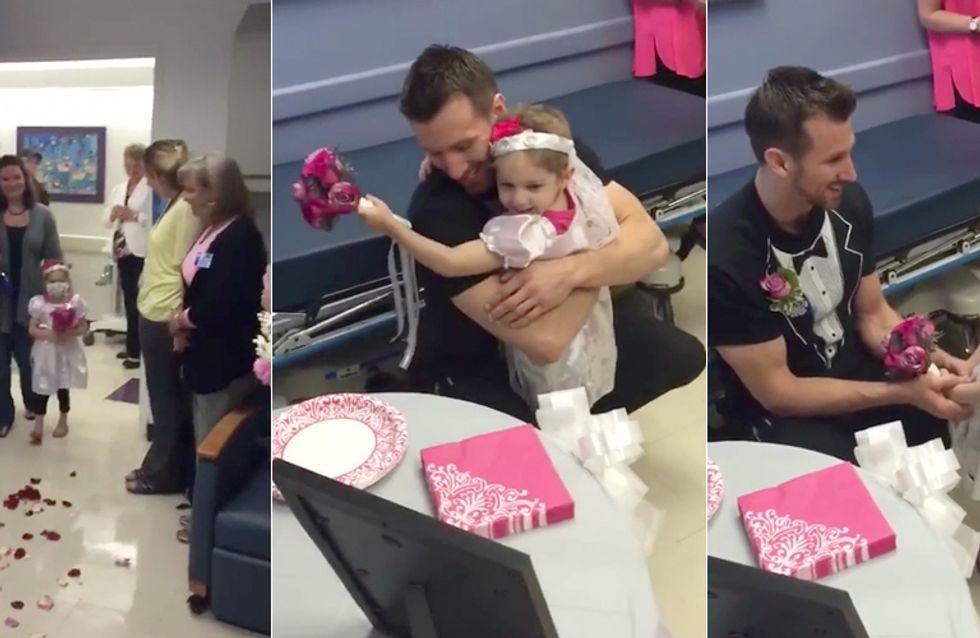 Video/ Commovente e toccante: questa bimba malata realizza il sogno di sposare il suo infermiere