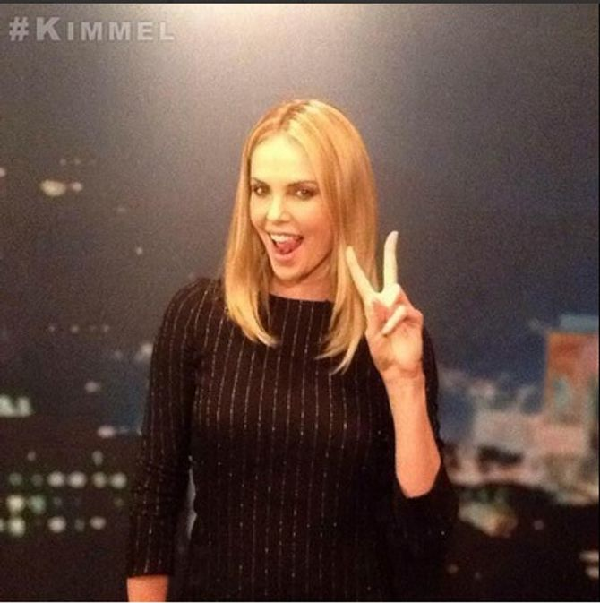 Charlize Theron chez Jimmy Kimmel