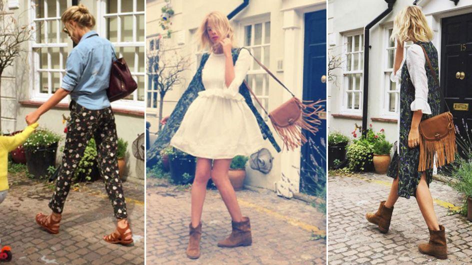 Alessia, romantica e boho-chic a Londra. Lo stile country della Marcuzzi ci conquista tutti!