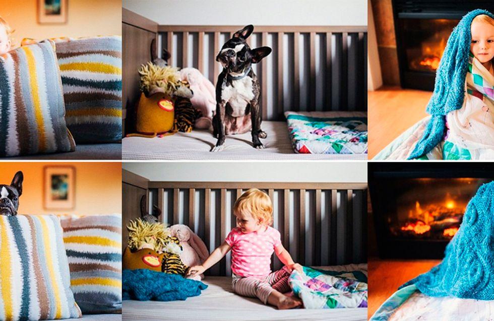 Bebê e cachorro são fotografados em cenários e poses idênticas