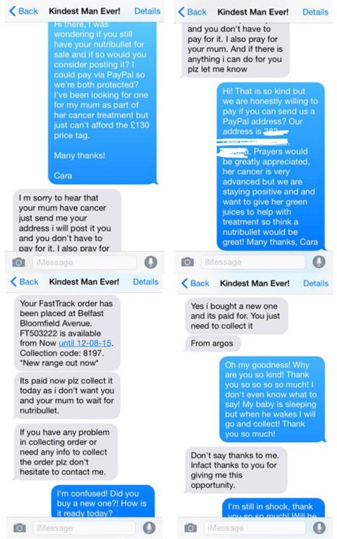 Das Gespräch zwischen Cara und dem Verkäufer