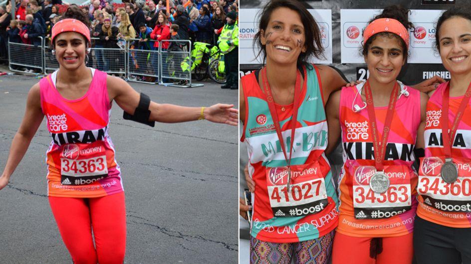 Während diese Frau einen Marathon läuft, ist ihre Hose voller Blut - doch das hat einen guten Grund