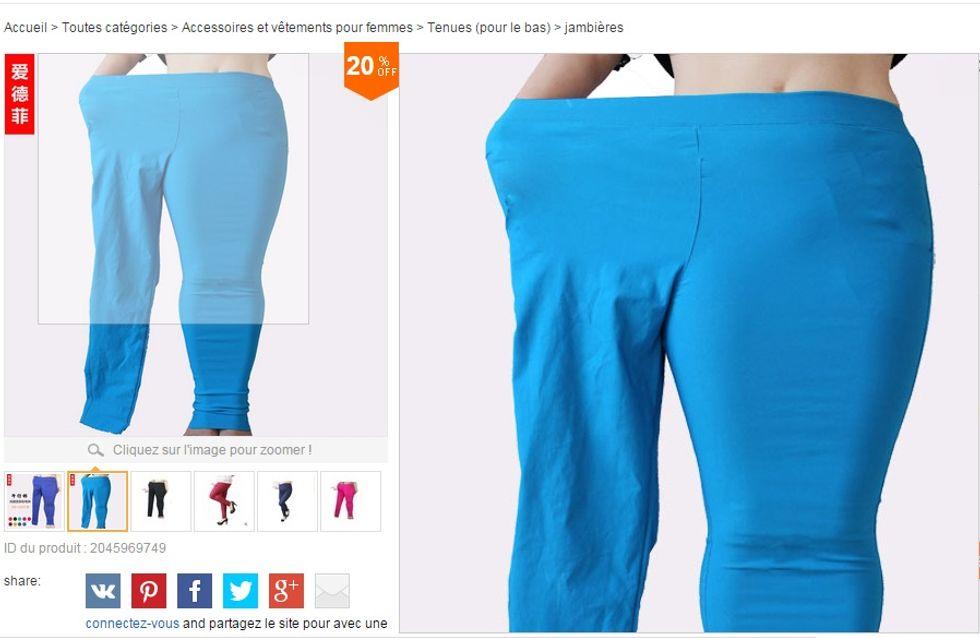 Un site marchand fait polémique avec d'étranges photos pour un vêtement grande taille