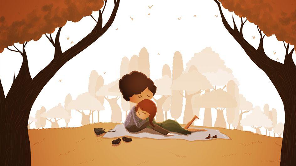 Ilustrações sobre momentos simples e cheios de amor da vida