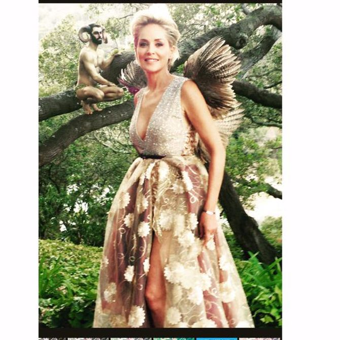 Sharon Stone dans sa tenue de gala