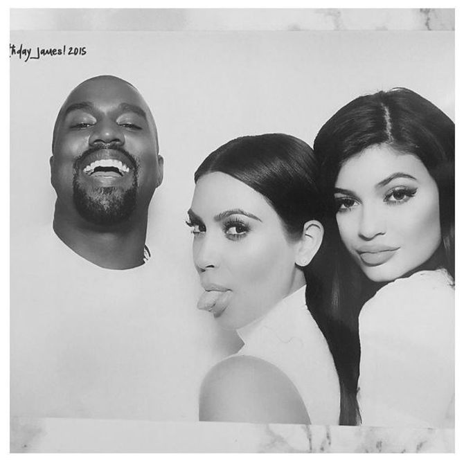 Kanye West, Kim Kardashian et Kylie Jenner