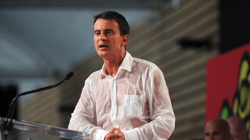 """Manuel Valls fait le buzz avec sa """"chemise mouillée"""" (Photos)"""