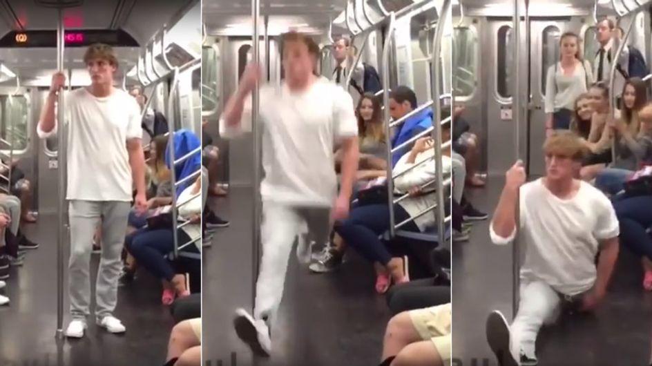 Dieser Typ steigt in eine U-Bahn und schockt mit seiner Akrobatik ALLE
