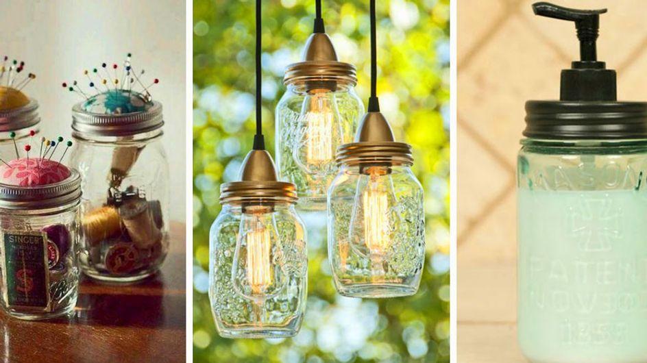 20 ideas creativas para reciclar tarros de cristal y decorar tu hogar con ellos