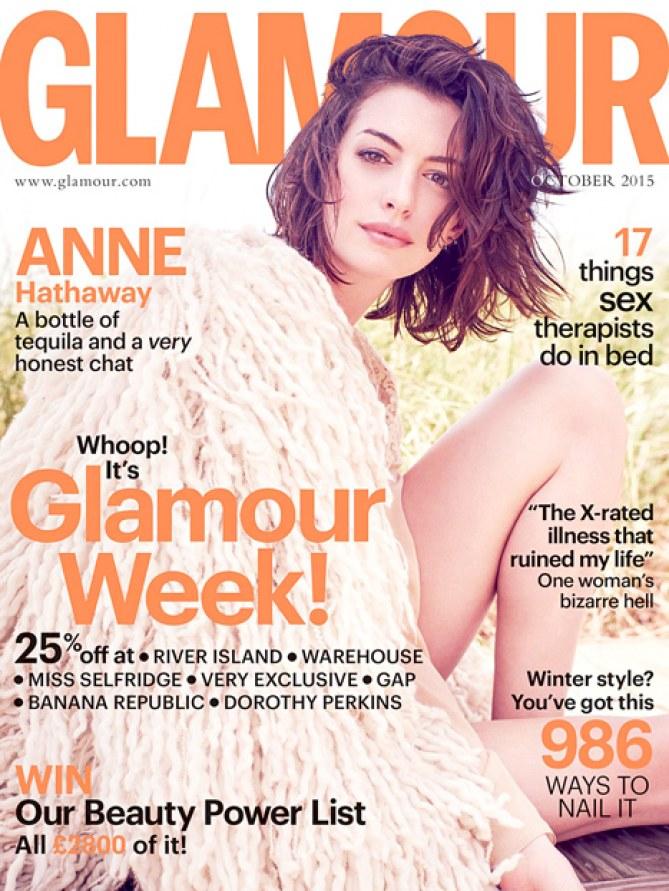 Anne Hathaway en couverture du Glamour anglais
