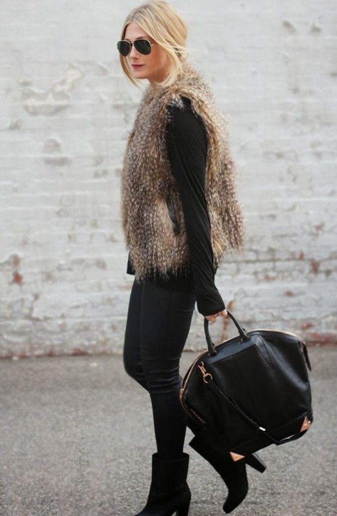 Fake Fellweste kombinieren: Elegant zum schwarzen Outfit