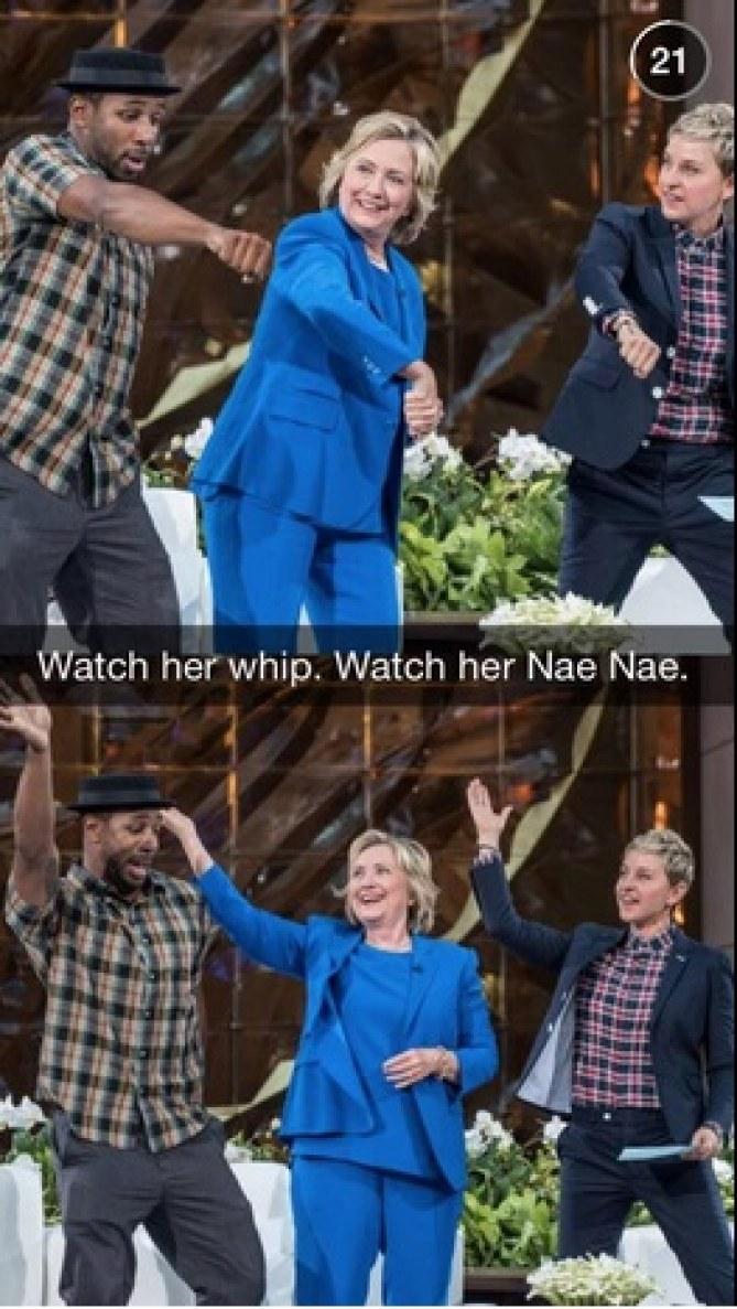 Hillary Clinton exécutant la NaeNae danse
