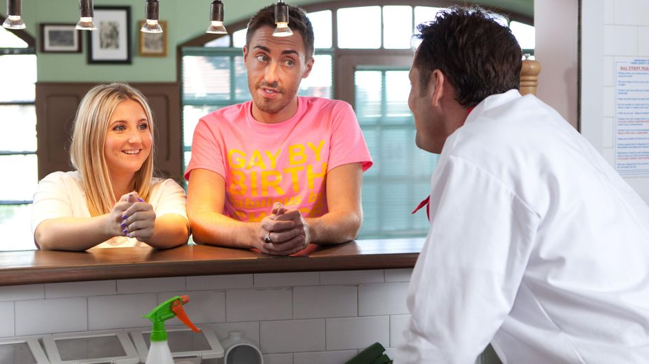 Hollyoaks 25/09 - Esther and Scott have gone into Gay Pride overdrive