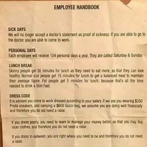 L'employee handbook de Rihanna
