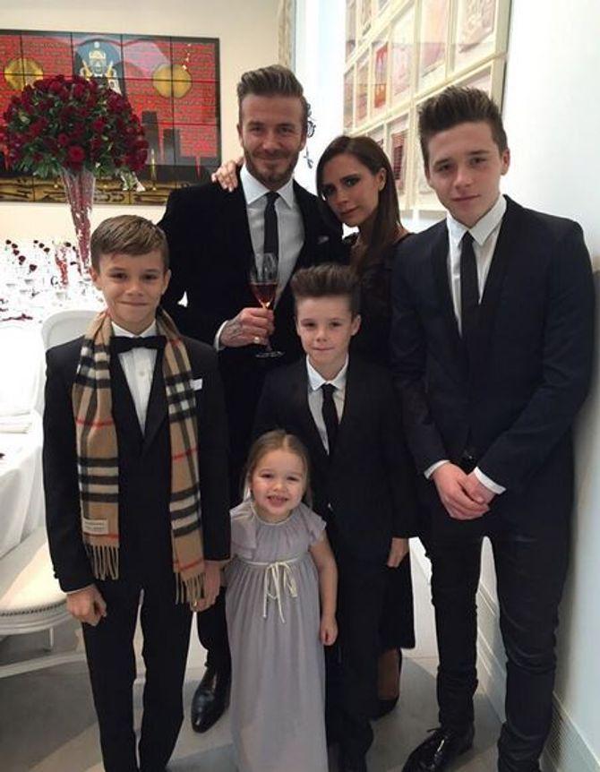 David, Victoria Beckham et leurs enfants