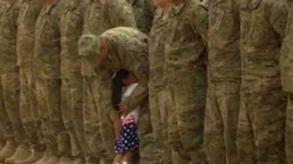 Little Girl Can't Resist Running To Hug Her Soldier Dad During Military Service