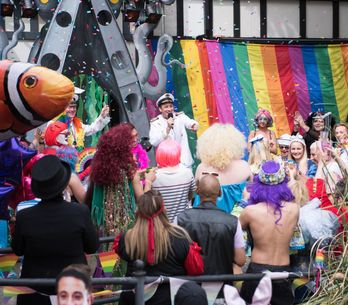 Hollyoaks 19/10 - Tony declares 'Hollyoaks Pride' open with a fanfare of fireworks and fancy dress