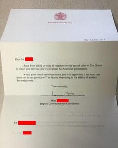 La fameuse lettre de Buckingham Palace