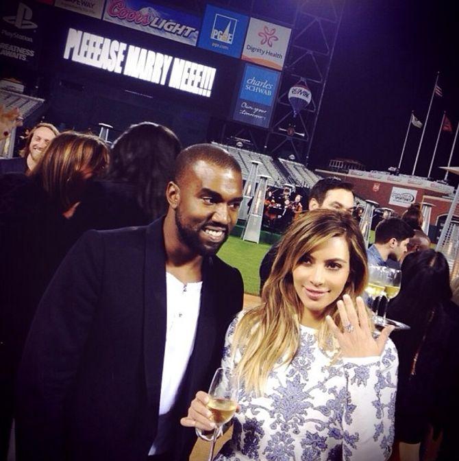 Kanye West et Kim Kardashian fiancés.