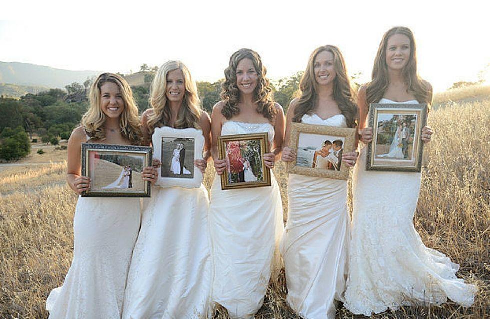 5 sorelle in abito da sposa ringraziano i propri genitori per averle sempre supportate