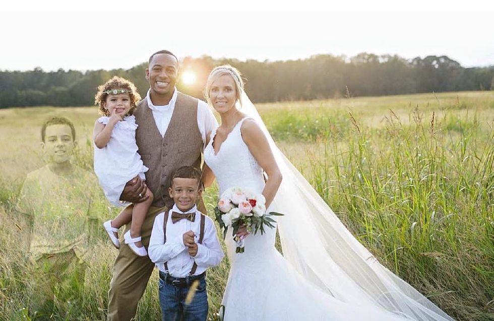 La leucemia le ha portato via suo figlio, lei fa ritoccare la foto del proprio matrimonio per rendergli omaggio