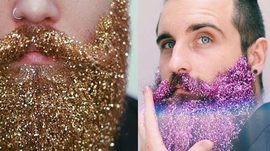Uomini e brillantini: la barba glitter fa impazzire i social