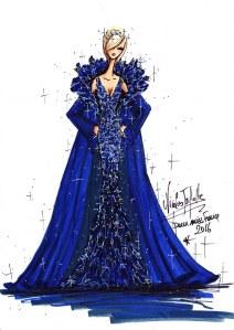 La robe d'une des finalistes dessinée par Nicolas Fafiotte