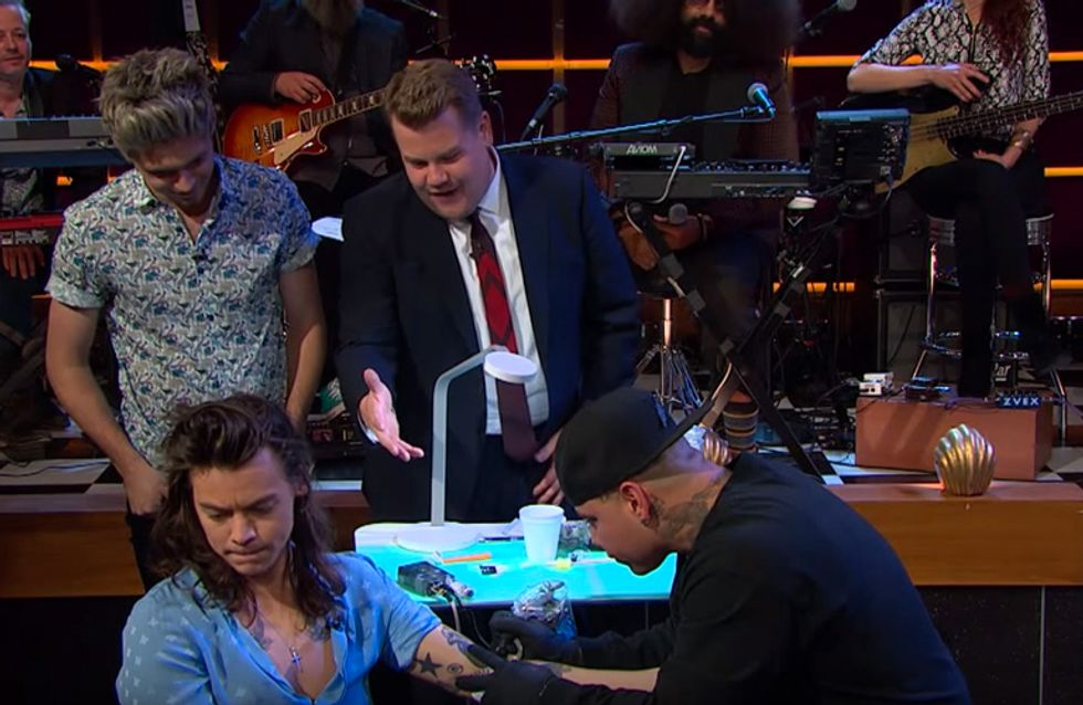 Harry Styles Just Got A Tattoo Live On TV And James Corden Lost It